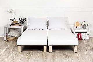 2 Sommier tapissier 70x190cm 15cm + 4 jeu de pieds en bois