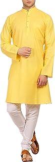 WINTAGEFesta per Uomo in Cotone e Seta Casuale Kurta Pajama -16 Colori