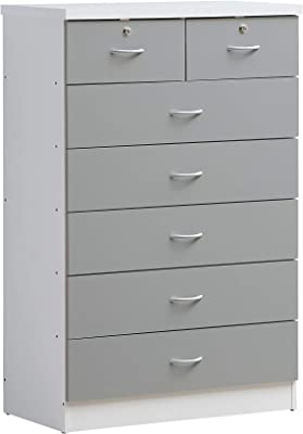 Hodedah 7 Chest with Locks on 2-Top Drawers in Grey Dresser