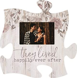 P. Graham Dunn They Lived Happily Ever After Floral Grey 12 x 12 Wood Puzzle Piece Wall Frame