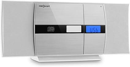 oneConcept V-15 - mini impianto stereo compatto , lettore CD MP3 , schermo alluminio , display LCD , porta USB MP3 , AUX-IN , radio VHF , bass-boost , montaggio parete , bianco-argento