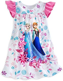 Disney Frozen Elsa and Anna Girl s Size 9 10 White Floral Nightgown 42703d024