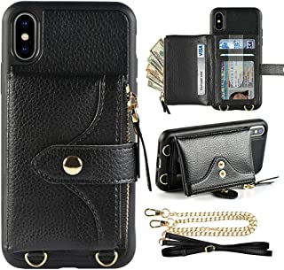 LAMEEKU Wallet Case for iPhone Xs and iPhone X 5.8 inches, Credit Card Holder Leather Wallet Case with Crossbody Strap Wrist Strap Zipper Leather Case Compatible with iPhone Xs/X, 5.8 inches-Black