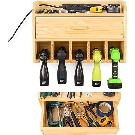 Almacenamiento de herramientas, estante de herramientas, almacenamiento de herramientas y organizador, montaje en pared, estantería de herramientas para garaje (con cajón).