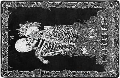 Astede Skull The Kissing Lovers Black Human Skeleton Area Rug Non Slip Comfort Yoga Mat Floor Carpet Home Decor for Living Room Bedroom 60x39 Inch
