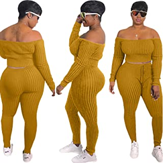 Women's 2 Piece Outfits Long Sleeve Pullover Workout Sets Loungewear Sweatsuit Crop Top and Sweatpant Set Sport Tracksuit ...
