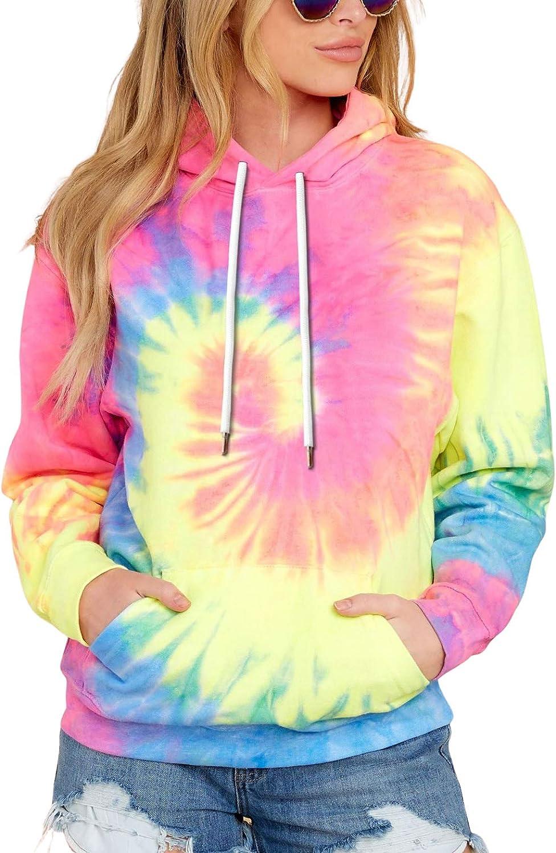 LOGENE Women's Tie Dye Print Hoodie Sweatshirt Casual Long Sleeve Hooded Pullover Sweatshirts Tops with Pocket