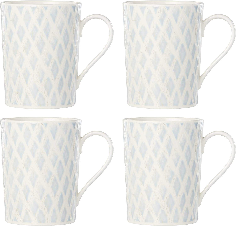 Lenox Textured San Jose Mall New sales Neutrals Netting 4-Piece LB 2.60 Set Blue Mug