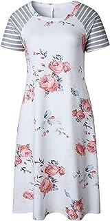7TECH Round Neck Long Sleeve A-Line Loose Print Dress, White