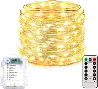 Homemory 66 FT LED String Lights with Remote, Battery Operated Long Fairy Lights with 200 LED Bulbs, 8 Modes Copper Wire Twinkle Lights, Indoor&Outdoor Waterproof, Warm White