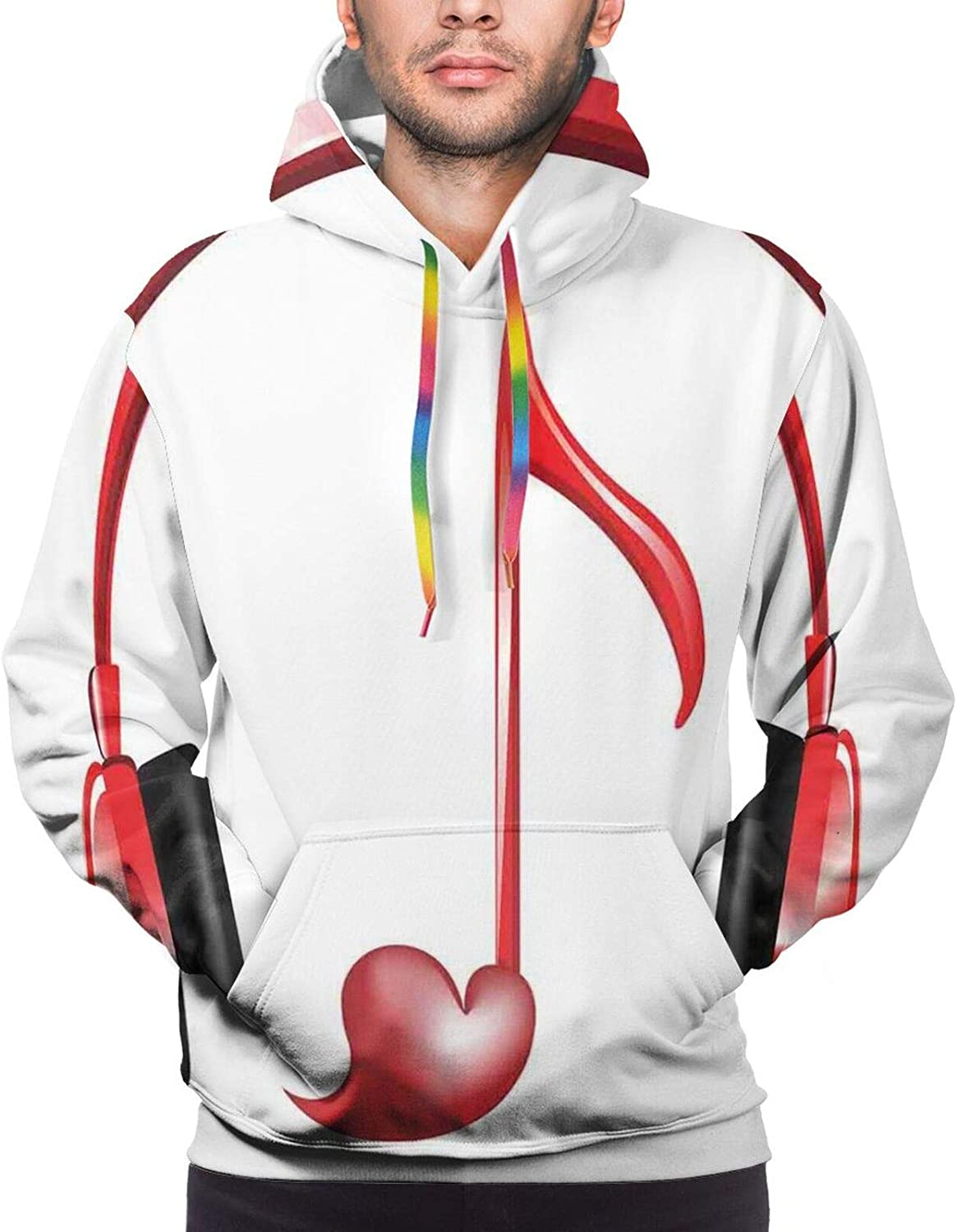Men's Hoodies Sweatshirts,Love Romance Themed Beautiful Continuous Pattern with Colorful Flowers with Dots