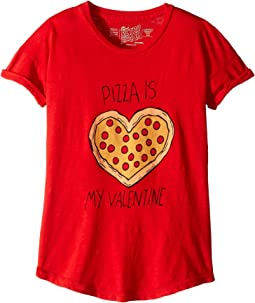 Pizza Is My Valentine Slub Crew Neck Tee (Big Kids)