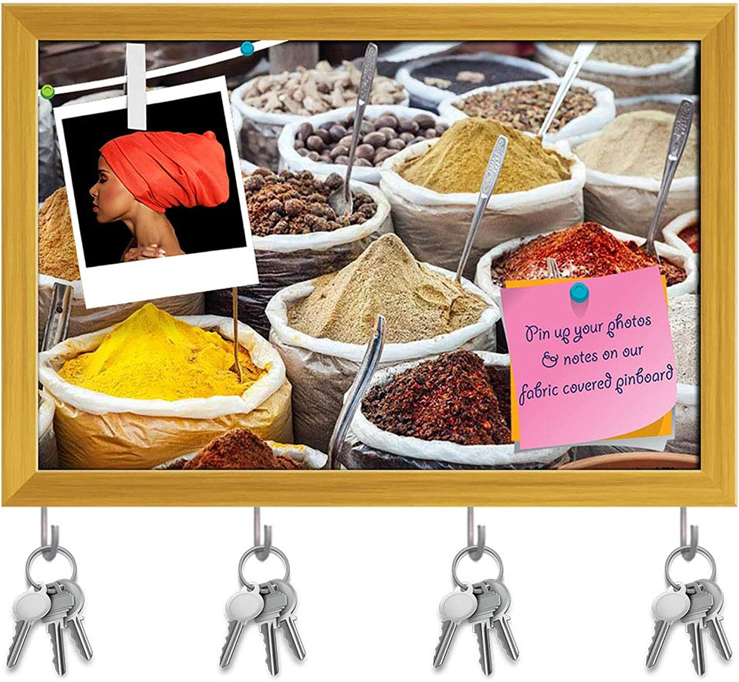 Artzfolio Indian colorful Spices & Tea Key Holder Hooks   Notice Pin Board   golden Frame 18 X 12Inch