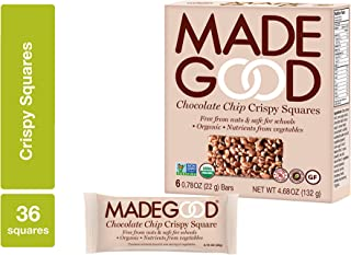 MadeGood Chocolate Chip Crispy Squares, 6 Pack (36 ct); Crispy Rice with Decadent Chocolate Chips; School-Safe, Organic, Vegan Snack; Contain Nutrients of a Serving of Vegetables
