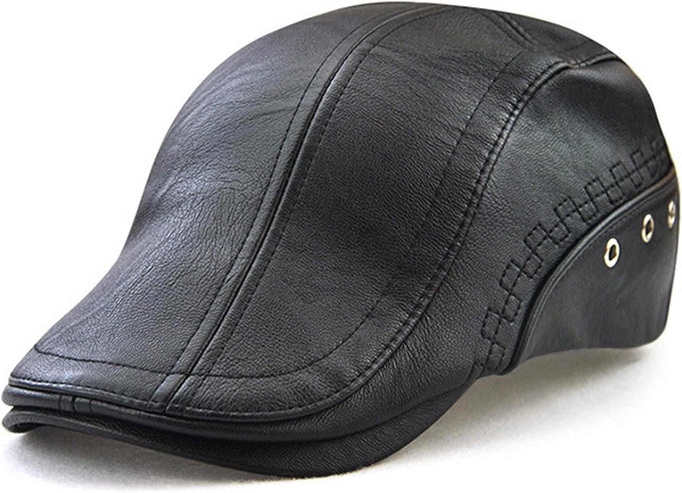 Great interest MTFS Men's Flat Cap PU Cheap mail order shopping Leather Vintage Ivy Newsboy Driving H