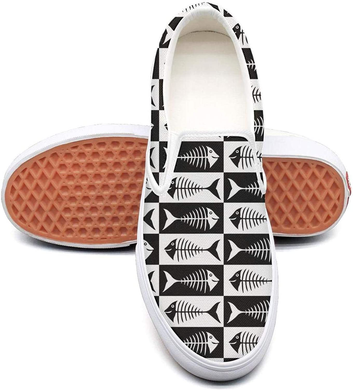 Fish Skeleton Womens Fashion Slip on Low Top Canvas Deck shoes