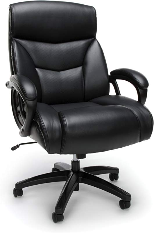 Essentials Big And Tall Leather Executive Chair High Back Computer Office Chair Black ESS 6040 BLK