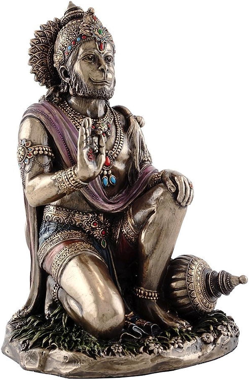 7.5-inch Hanuman Hindu God of Strength Real Bronze Powder Cast Statue