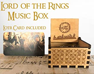 Beautiful Carved Wooden Music box Hand cranked: Lord of the Rings Beauty and the Beast, Star Wars, Frozen, Zelda and Lord of the Rings Theme Gift (Lord of the Rings, Wood) (Lord of the Rings)