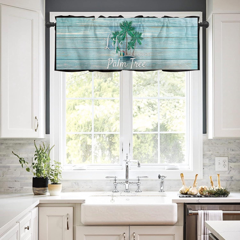 Rod Pocket Washington Mall Window Valances Curtains Kitchen Summer for famous Tropical