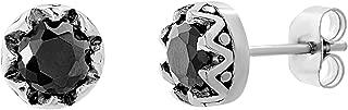 Round Black Cubic Zirconia Fleur De Lis Bezel Design Stud Earring for Men in Oxidized Stainless Steel