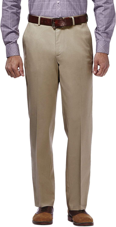 Haggar Men's Premium No Iron Khaki Classic Fit Expandable Waist Flat Front Pant at  Men's Clothing store