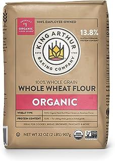 King Arthur, 100% Organic Whole Wheat Flour, 100% Whole Grain, Non-GMO Project Verified, 2 Pounds (Pack of 12)