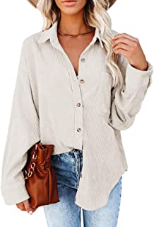Womens Corduroy Shirts Casual Long Sleeve Button Down...