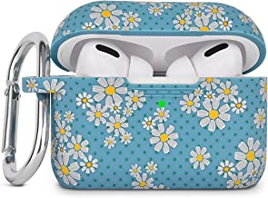 AIRSPO Silicone Cover Compatible AirPods Pro Case Floral Print Protective Case Skin for Apple Airpod Pro Charging Case 2019 LED Visible Shock-Absorbing Soft Slim Silicone Case … (Teal-Daisy)