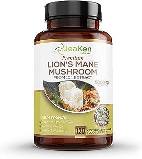 LIONS MANE MUSHROOM CAPSULES - Hjärntillskott för kognitiv hjärnkraft - 5000 mg per servering av Nootropics-tillskott och ...