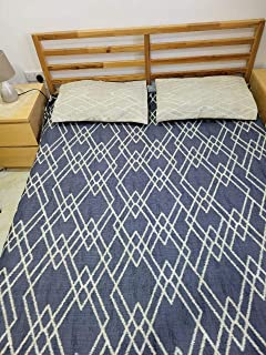 Bedsheet for Double bed 100% cotton export quality with 2 pillows… (Blue White)