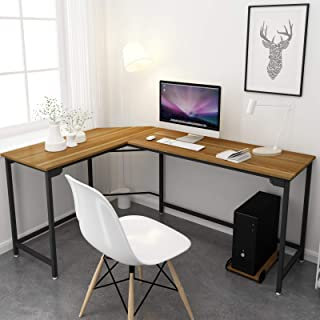 SimLife Modern L-Shaped Computer Desk Corner Gaming Desk Home Office Workstation Study Table Wood & Metal,Walnut