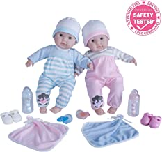 """Berenguer Boutique 30050 TWINS-  15"""" Soft Body Baby Dolls - 12 Piece Gift Set with Open/Close Eyes- Perfect for Children 2+"""