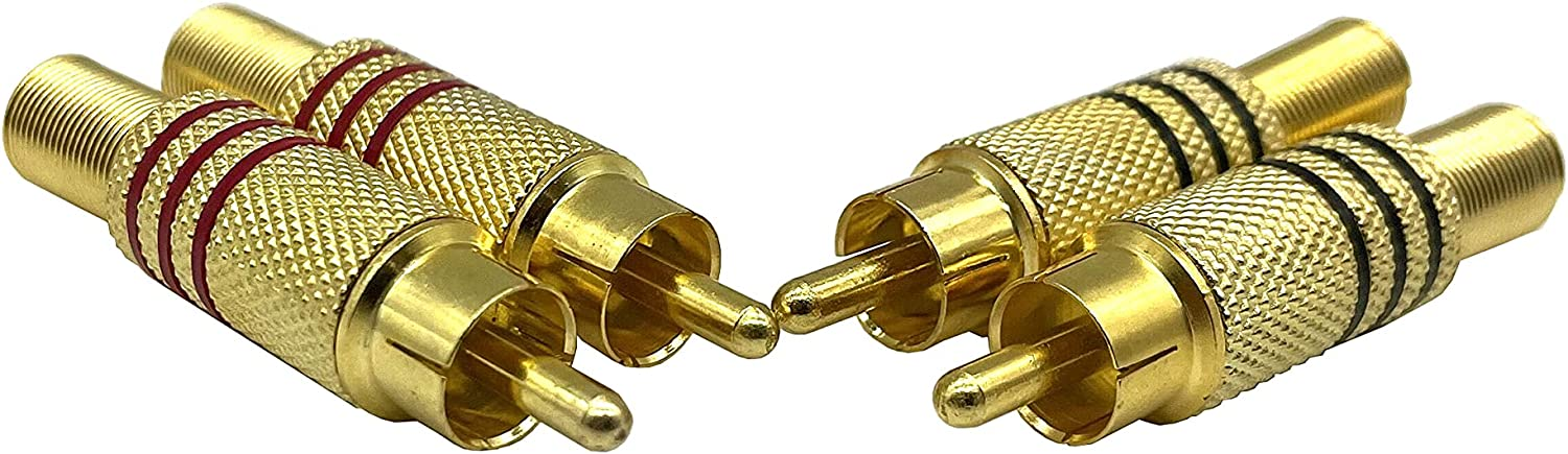 Dafensoy RCA Stereo Male Connector Plug,Spring Coaxial Audio Solderless Red and Black Circle Metal Gold-Plated Connector Adapter(4-Pack)
