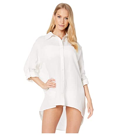 Seafolly Lightweight Linen Blend Shirt Cover-Up (White) Women