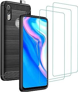 ivoler fodral till Huawei P Smart Z + 3-pack härdat glas skärmskydd, kolfiberdesign stötdämpande stötskydd, smalt mjukt si...