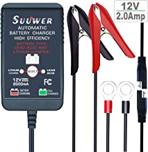 Suuwer 12V 2A Multifunction Lead Acid/Lithium Smart Trickle Battery Charger/Maintainer, for Cars Boat Lawn Tractor Motorcycles Lawn Mower Snowmobile Generator Lead Acid and Lithium(LiFePO4) Batteries
