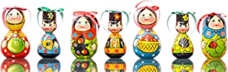 craftsfromrussia Christmas Ornaments - Set of 7 - Wooden Handmade Ornaments (7, Design L)