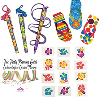 Hawaiian Luau Party Favors for 24 Kids, Nurses, Pool and Beach Parties, etc. | 24 Count Hibiscus Pens with Lanyard & Mini Flip Flop Pads, and 72 Glitter Flower Tattoos (120 Total Pieces)