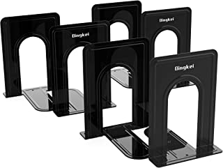 Bookends, Heavy Duty Book Ends, Black Metal Bookends, 6.69 x 5.8 x 5 inc, Non-Slip Bookend Supports for Shelves, Office an...