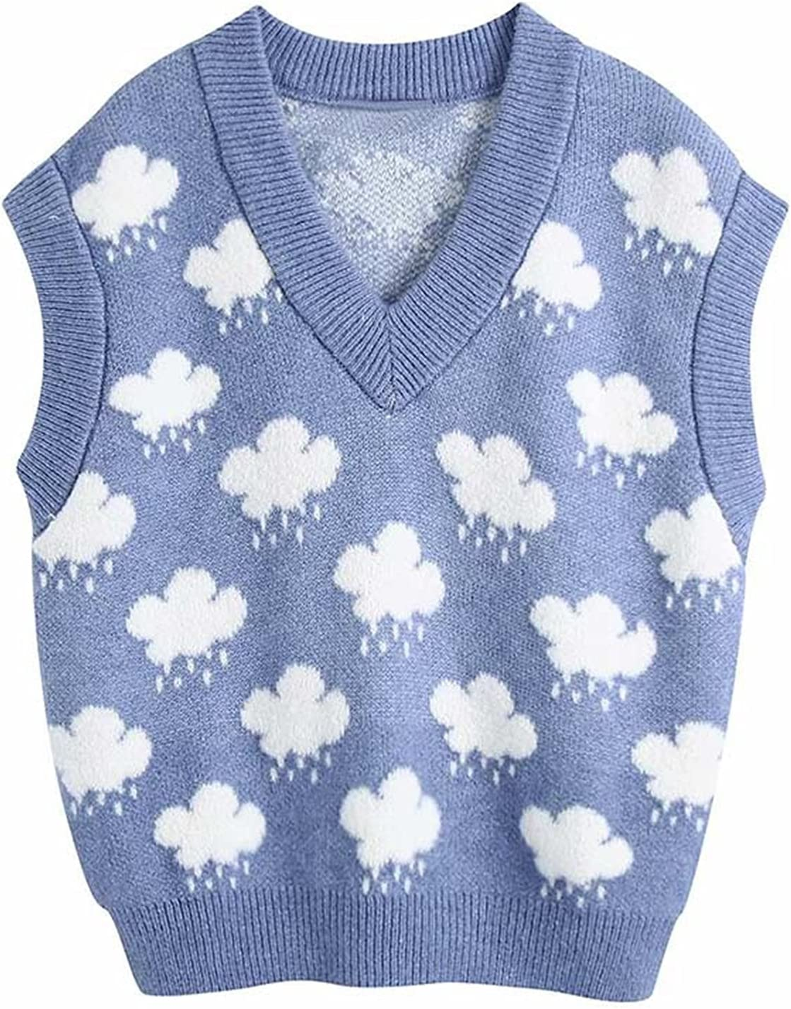 KSFBHC Knitted Sweater Vest Women V Neck Leisure Cloud Sweater Sleeveless Casual Slim Vest Pullovers Tops (Color : Blue, Size : Small)