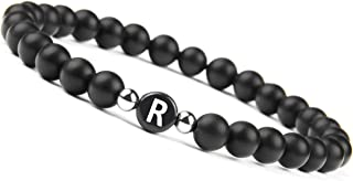 Black Onyx Handmade Bracelet w/Engraved Initial | Natural Stones 6mm Personalized Letter Engraving
