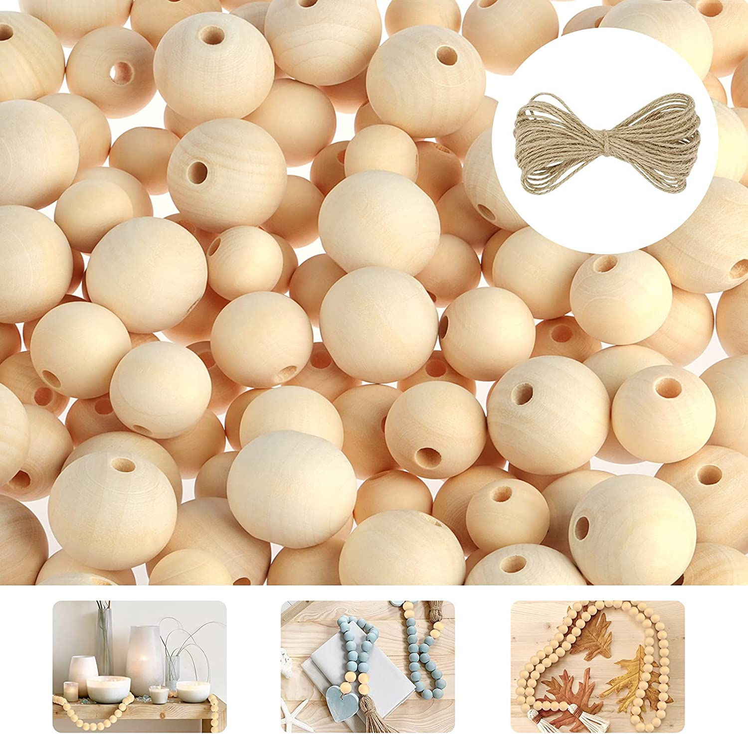 Fuyit 200Pcs Wooden Beads 3 Sizes 20mm 25mm Large-scale sale Natural 30mm New popularity Unfini
