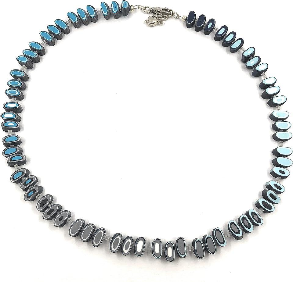 Efimoni Kette mit Farbübergang Unikat blau Handmade Polymer Clay Halskette Künstlerkette Art.Nr.: N00001