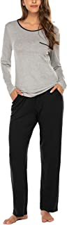 Womens Pajama Set Long Sleeve O Neck Sleepwear Soft PJ's Set Pants with Pockets(S-XXL)