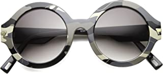 Bold Horn Rimmed Camo Print Frame Metal Arm Accent Round Sunglasses 49mm