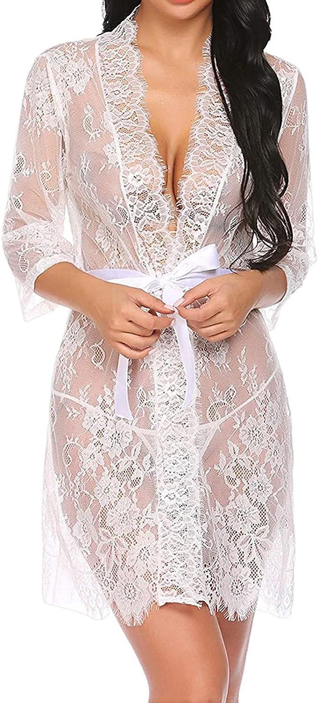 Sheer See Through Robe Women Black Lace Kimono Sexy Nightgowns B