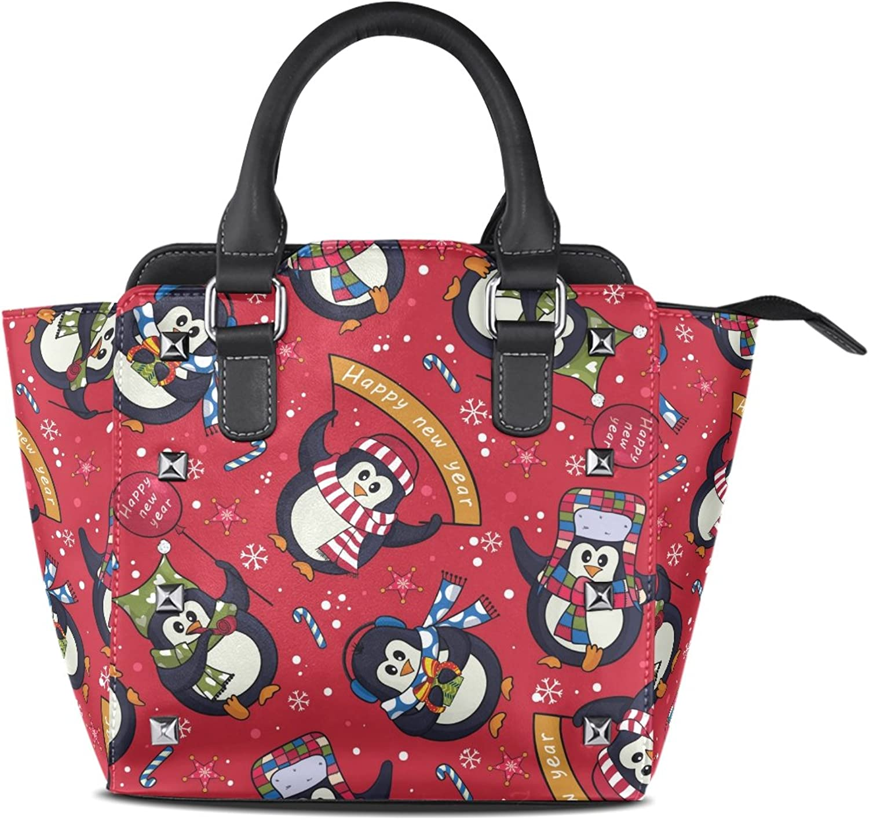 My Little Nest Women's Top Handle Satchel Handbag Cute Christmas Penguins Ladies PU Leather Shoulder Bag Crossbody Bag
