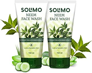 Amazon Brand - Solimo Neem Facewash, 150ml (Pack of 2)