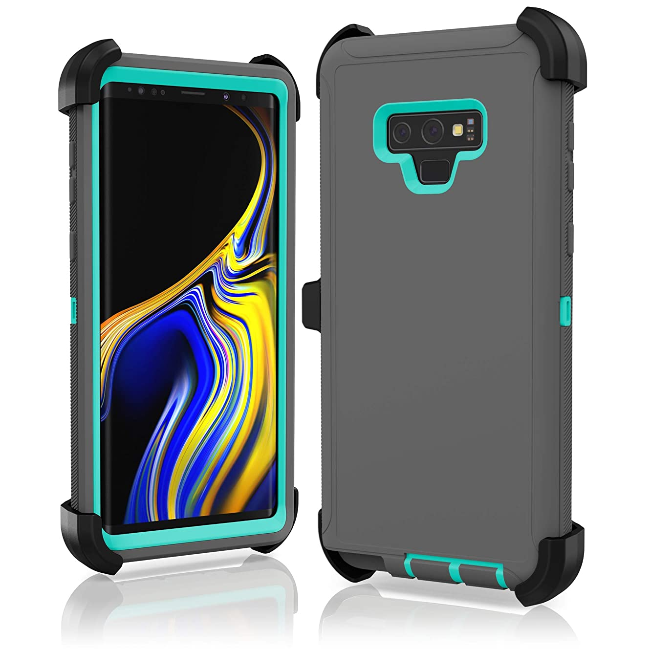 Protective Shockproof Hybrid Hard Belt Clip Case Cover for Samsung Galaxy Note 9 - Heavy Duty Design - Interchangeable Colors … (Grey Teal)
